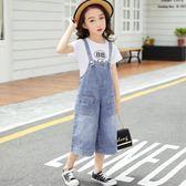 童裝女童背帶褲2018夏季新款韓版洋氣牛仔闊腿褲兒童寬鬆褲子潮褲 春生雜貨