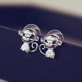 耳環 925純銀 鑲鑽-可愛猴子生日情人節禮物女飾品73ca46【時尚巴黎】