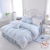 全棉床上用品正韓床裙式四件套床罩式4件套棉質田園蕾絲公主JY