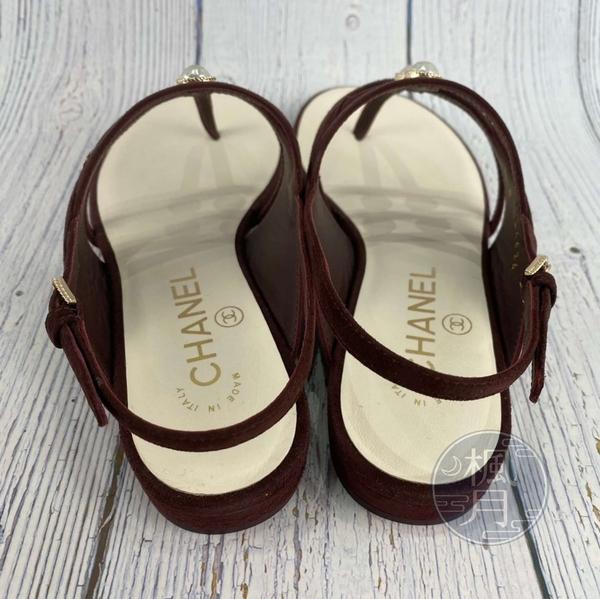BRAND楓月 CHANEL 香奈兒 酒紅色 麂皮 皮革 珍珠鑲嵌 巴洛克珍珠 涼鞋 拖鞋 羅馬鞋
