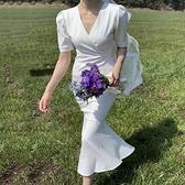 韓國ins夏季優雅顯瘦V領修身小心機系帶收腰中長款魚尾邊洋裝女 幸福第一站