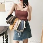心機木耳邊小吊帶女夏外穿性感復古無袖上衣韓版內搭打底針織背心 安妮塔小舖
