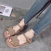 羅馬涼鞋女學生夏涼鞋新款百搭正韓一字扣平底女涼鞋厚底鬆糕鞋潮