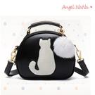 高質感手提包。貓咪毛球可愛小圓包女斜背包 (SBA0210) AngelNaNa