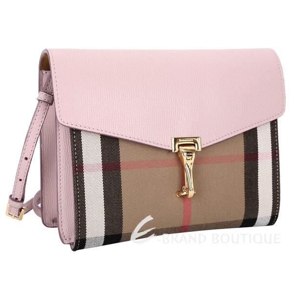 BURBERRY HOUSE 格紋皮革小型斜背包(粉色) 1540965-05