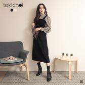 東京著衣-tokichoi-時髦甜心格紋蓬蓬袖襯衫X針織背心真兩件式上衣(191602)