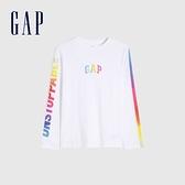 Gap男童 Logo純棉炫彩印花T恤 682098-白色