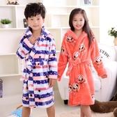 秋天冬季法蘭絨兒童睡袍珊瑚加厚睡衣男童女童小孩寶寶浴袍 快速出貨