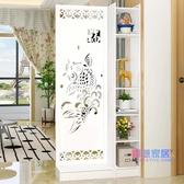 屏風 客廳玄關柜簡約現代歐式時尚移動門廳裝飾柜鏤空雕花櫥窗JY【快速出貨】