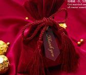 創意新款結婚禮喜糖盒絲絨布袋喜糖袋可放煙大號滿月酒糖果袋第七公社