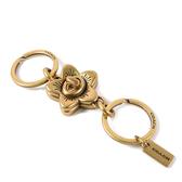 美國正品 COACH 復古金屬櫻花旋鈕鑰匙圈-金色【現貨】
