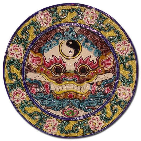 鹿港窯-台灣國寶交趾陶開運裝飾壁飾-立體框【L太極咬劍獅王】