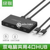 USB印表機共享器二進四出兩臺電腦鼠標鍵盤文件共享4口切換器-Fkju10
