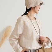 【慢。生活】蕾絲領拼貼棉麻感上衣 6109  FREE 杏色