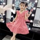 衣童趣(•‿•)韓版中大女童 夏日甜美洋裝 荷葉邊V領連身裙【現貨】