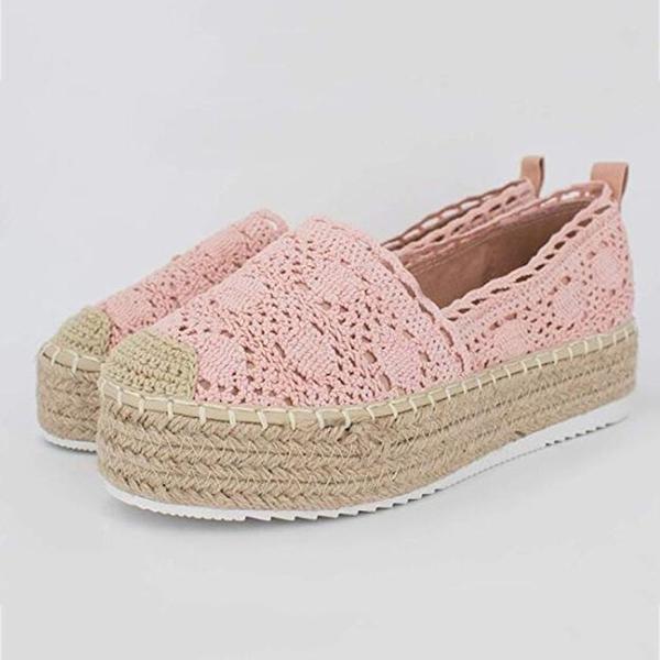 大尺碼女鞋  2019新款時尚蕾絲麻邊漁夫鞋休閒鞋~7色