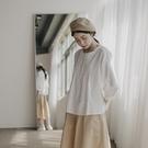 Queen Shop【01096753】圓領打褶暗門襟設計棉質上衣*現+預*