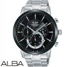 ALBA 黑框碼錶三眼不鏽鋼男錶 44mm 藍寶石水晶玻璃鏡面 VD53-X295D AT3D25X1 公司貨 |名人鐘錶