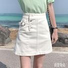 牛仔A字短裙女2020新款夏裝高腰chic半身裙包臀裙港風ins潮 PA15532『美好时光』