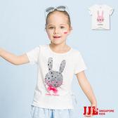 JJLKIDS 女童 愛心小兔花邊領純棉短袖上衣(2色)