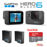 GoPro HERO6 Black 專業4K運動攝影機  64G/100MBs記憶卡+原電含標配(共2顆)  公司貨