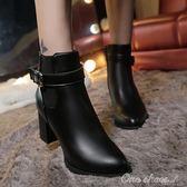 現貨出清 女短靴高跟靴女士馬丁靴英倫風女單靴大碼粗跟媽媽女鞋潮 10-27 YYS