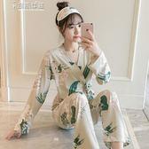 浴袍秋冬季睡衣女正韓長袖日繫和服純棉寬鬆兩件套甜美可愛清新家居服奈斯女裝