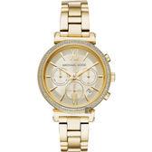 Michael Kors 愛在紐約晶鑽計時手錶-金/38mm MK6559