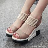 坡跟女涼鞋  歐洲站露趾坡跟時尚仙女風高跟涼鞋夏季新款後空百搭學生女鞋 新品