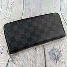 BRAND楓月 LOUIS VUITTON 路易威登 LV N63095 黑棋盤格 對開 拉鍊長夾 14卡層