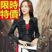 女款機車外套-縮腰騎士風美觀時髦女皮衣夾克61z59[巴黎精品]