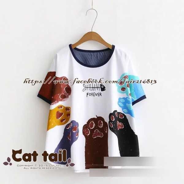 《貓尾巴》JP-0511 童趣風格彩色貓手印花短袖T恤(森林系 日系 棉麻 文青 清新)