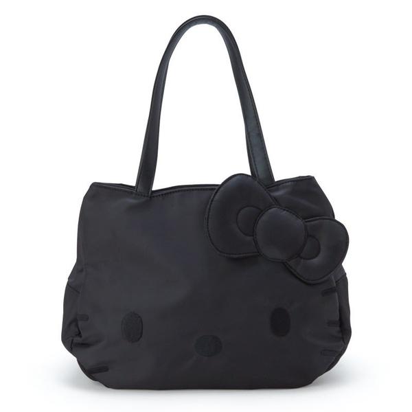 〔小禮堂〕Hello Kitty 厚磅尼龍大臉造型側背袋《黑》手提袋.肩背袋 4901610-51491