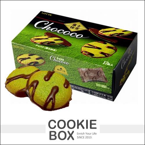 日本 樂天 lotte Chococo 抹茶巧克力 風味 餅乾98.6g 曲奇 點心 *餅乾盒子*