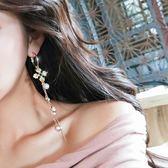 耳環 耳環女氣質韓國個性簡約百搭耳飾不對稱復古長款吊墜流蘇珍珠耳墜【全館免運限時八折】