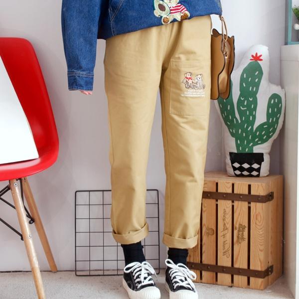 S長褲 口袋刺繡字母-月兒的綺麗莊園