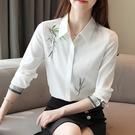中大尺碼女裝 白色襯衫女長袖2021裝新款繡花上衣職業氣質顯瘦打底雪紡襯衣 8號店