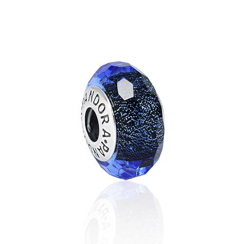 Pandora 潘朵拉 閃耀晶透多角藍色琉璃珠 純銀墜飾 串珠