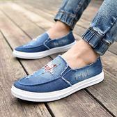 老北京牛仔布鞋男鞋潮鞋子男士休閒鞋不繫帶板鞋懶人帆布鞋男   可然精品鞋櫃