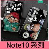 【萌萌噠】三星 Galaxy Note10 Note10+  嘻哈卡通 潮男新款 酷酷貓狗 全包軟邊 鋼化玻璃背板 手機殼