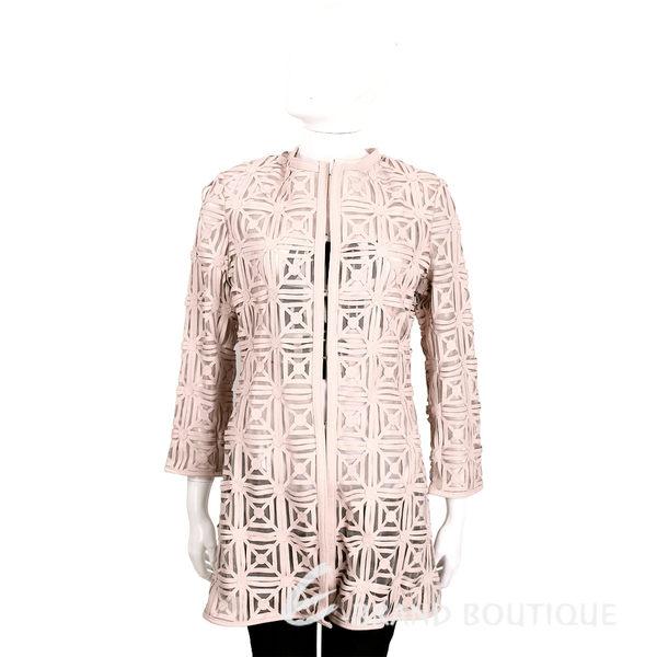 Caban Romantic 幾何雕花皮革長版外套(粉色/附白色字母T恤) 1620133-05