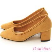 D+AF 秋氛時尚.素面絨料小方頭高跟鞋*黃