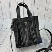 BRAND楓月 BALENCIAGA 巴黎世家 513988 BAZAR 黑色 機車包風格 側背包 手提包 #XXS