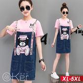 小熊亮片圖案牛帶吊帶裙+休閒短袖T恤兩件套 XL-5XL O-ker歐珂兒 169363