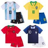 兒童球服 兒童足球服套裝短袖男女童足球訓練服小學生運動球衣比賽隊服定制 米蘭shoe