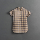 Queen Shop【01085439】童裝 親子系列 格紋棉麻襯衫洋裝 S/M/L*現+預*