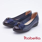 itabella.牛皮立體蝴蝶結包鞋(9679-50藍色)