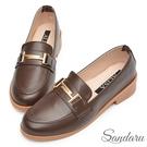 樂福鞋 經典色系馬銜釦低跟鞋-咖