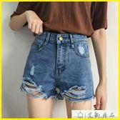 現貨-短褲-短褲-韓版寬鬆個性磨破毛邊做舊牛仔褲 艾尚精品