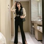 套裝洋裝 時尚夏季氣質西裝外套高腰直筒垂感喇叭褲兩件套女 中秋降價